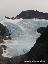Glacier advancing toward the ocean near Seward, AK.