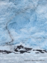 """Glacial calving occurred where the """"dent"""" in the ice is seen. Holgate Glacier."""